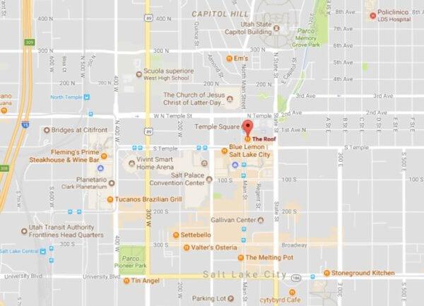 Mappa del The Roof Restaurant, ristorante a Salt Lake City