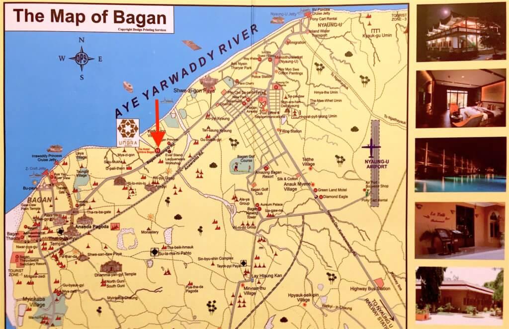 Umbra Hotel a Bagan - mappa