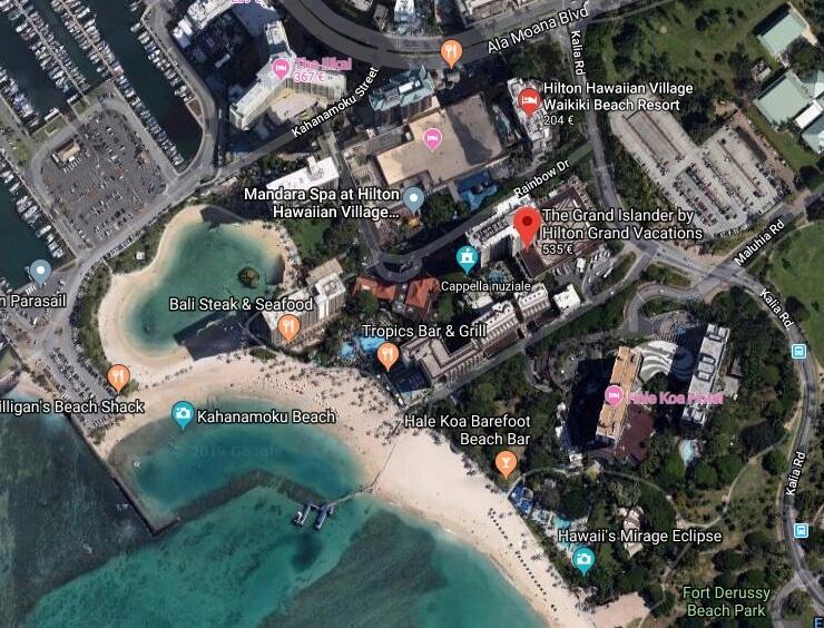 The Grand Islander by Hilton Grand Vacations - La posizione del nostro Hotel a Waikiki Beach